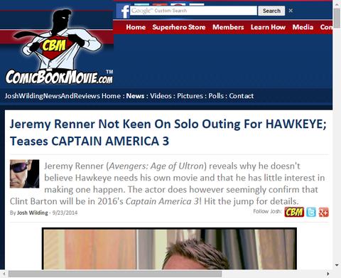 ホークアイのための単独のとう腕に関して熱心じゃないジェレミー・レナーはキャプテン・アメリカ3をからかう!