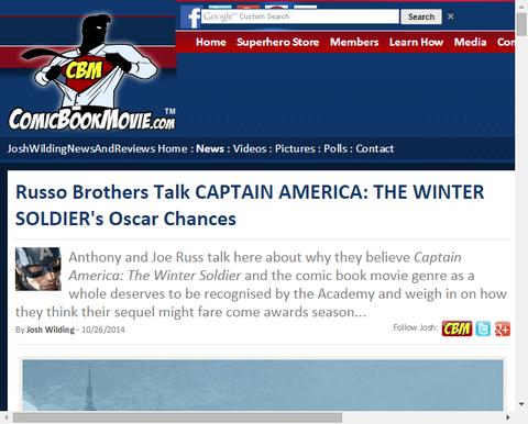 ルッソ兄弟は映画「キャプテン・アメリカ:ウィンター・ソルジャー」のオスカーの可能性を話す!