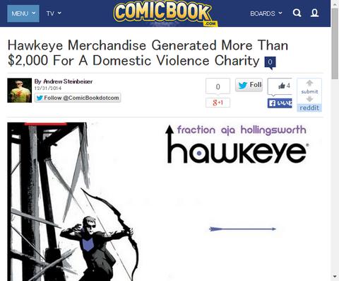 ホークアイの商品はドメスティック・ヴァイオレンス・チャリティーのために2000ドル以上を生み出した!