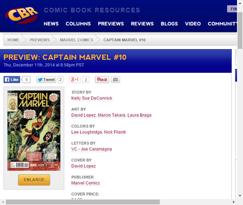 キャロル・ダンバースの100巻記念!キャプテン・マーベル #10のプレビュー画像が更新!