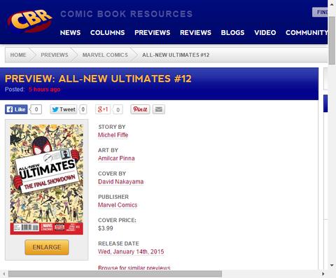 ストーリーはクライマックスへ!オールニュー・アルティメッツ #12のプレビュー画像が更新!