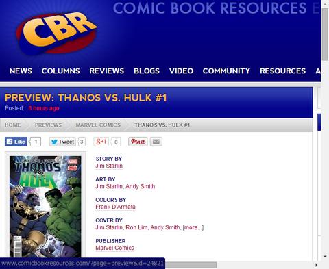 サノス VS ハルク #1のプレビュー画像が更新!