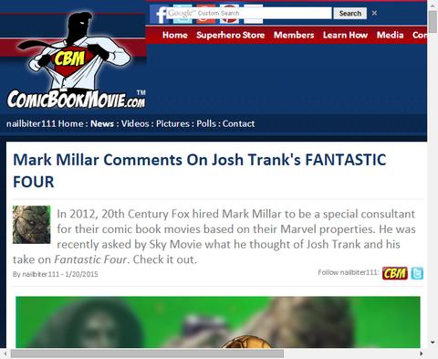 マーク・ミラーはジョシュ・トランクの「ファンタスティック・フォー」について言及!