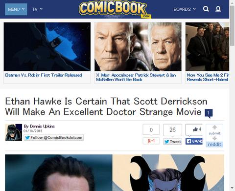 イーサン・ホークはスコット・デリクソンが優れた映画「ドクター・ストレンジ」を製作することを確信する!
