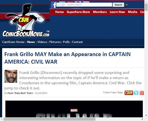フランク・グリロはキャプテン・アメリカ:シビル・ウォーで姿を現すかもしれない!