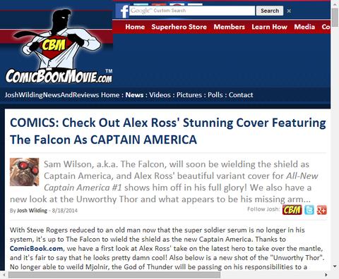 アレックス・ロスが描くファルコンを特徴とする新キャプテン・アメリカ!さらにアンウォーディ・ソーの新たなショットも!