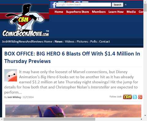 映画「ビッグ・ヒーロー・6」のボックスオフィスは木曜日に140万ドルと共に出発する!初動はアナ雪越え!