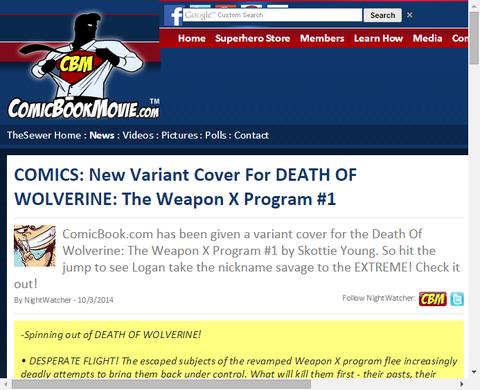 デス・オブ・ウルヴァリン:ザ・ウェポンX・プログラム #1の新たなヴァリアントカバーが公開!