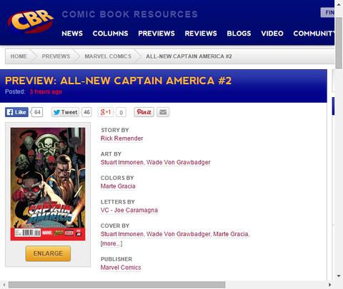 ハイドラヴィラン達を倒せ!オールニュー・キャプテン・アメリカ #2のプレビュー画像が更新!