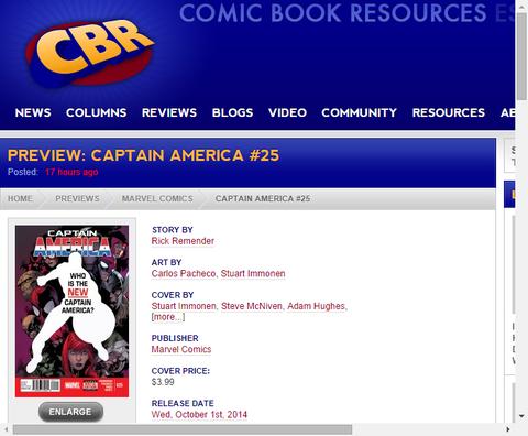 キャプテン・アメリカ #25のプレビュー!