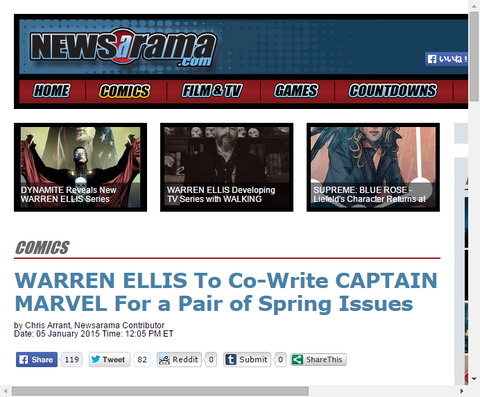 キャプテン・マーベルの春の巻を書くためにウォーレン・エリスは戻ってくる!
