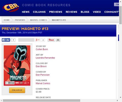 ブライアー・ローリーとは誰だ!?マグニートー #13のプレビューの画像が更新!