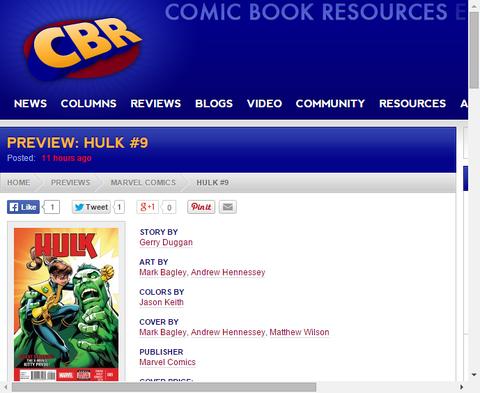 ハルク #9のプレビュー画像が更新!