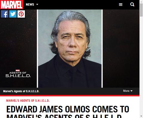 3月からの「エージェント・オブ・シールド」に新たなキャストとしてエドワード・ジェームズ・オルモスが参加する!