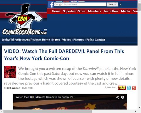 ニューヨーク・コミコンでのドラマ「デアデビル」のパネルのフル映像が公開!