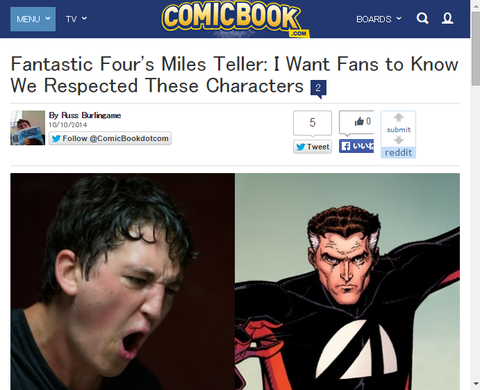 映画「ファンタスティック・フォー」のマイルズ・テラーは「私はファンに我々がキャラクターに敬意を表したことを知っていて欲しい」と述べる!