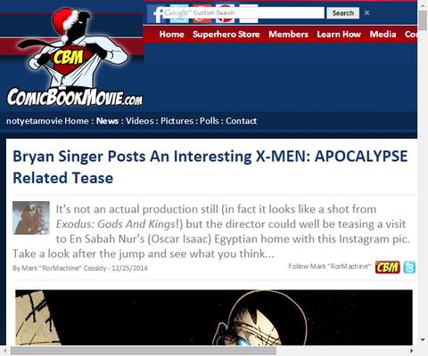 ブライアン・シンガーが映画「X-MEN:アポカリプス」の映像の画像をアップする!