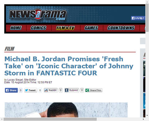 リブート版ファンタスティックフォーでヒューマントーチを演じるマイケル・B・ジョーダンについてクリスが言及!