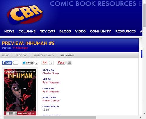インヒューマン #9のプレビュー画像が更新!