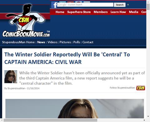 伝えられるところではウィンター・ソルジャーは映画「キャプテン・アメリカ:シビル・ウォー」の中心人物である!