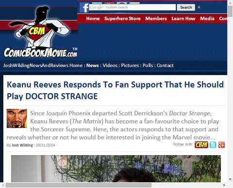 【朗報】キアヌ・リーブスは彼がドクター・ストレンジを演じて欲しいというファンの支持に応じる!
