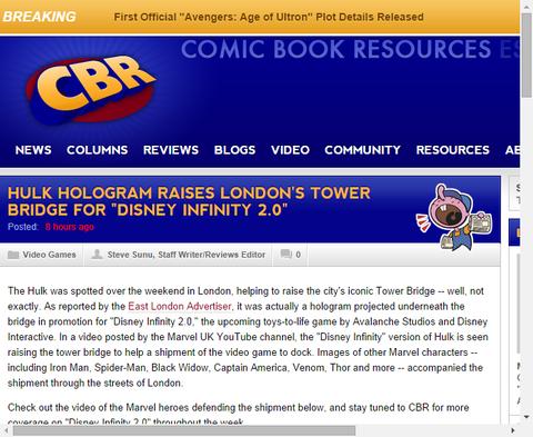 ハルクのホログラムは「ディズニー・インフィニティ」のためにロンドンタワーブリッジを建てる!