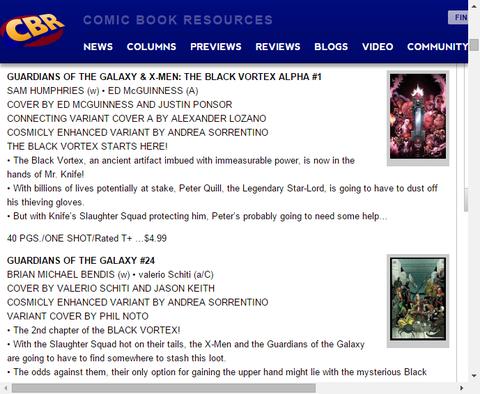 ブラック・ヴォルテックスはここから始まる!ガーディアンズ・オブ・ザ・ギャラクシー & X-MEN:ザ・ブラック・ヴォルテックス・アルファ #1のプレビュー!