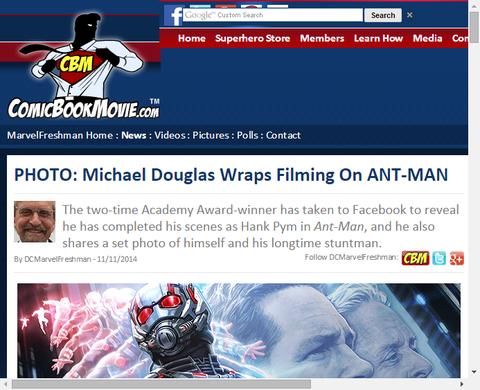 マイケル・ダグラスが映画「アントマン」に関する写真をアップする!