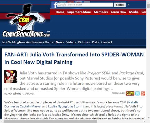 ジュリア・ヴォスを元にしたスパイダーウーマンのクールなファンアート!