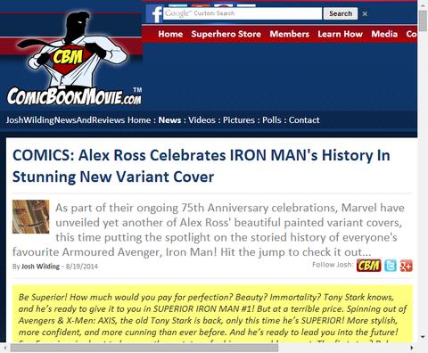 アレックス・ロスが描くスぺリアー・アイアンマンのヴァリアントカバー!