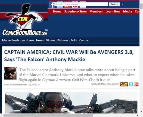 ファルコンを演じるアンソニー・マッキーが映画「キャプテン・アメリカ:シビル・ウォー」はアベンジャーズ3.8だと話す!