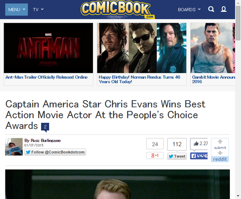 映画「キャプテン・アメリカ」のスターであるクリス・エバンスがピープルズ・チョイス・アワードのフェイバリットアクションムービーアクター賞を受賞!