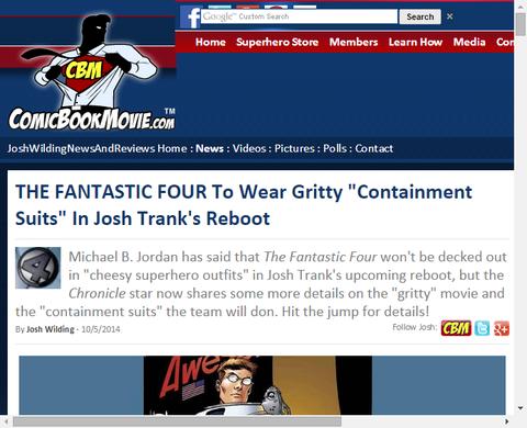 ジョシュ・トランクのリブート版「ファンタスティック・フォー」は勇気ある「コンテイメント・スーツ」!