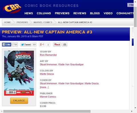 新キャップ対レッドスカルの娘シン!オールニュー・キャプテン・アメリカ #3のプレビュー画像が更新!