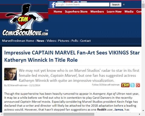 印象的な映画「キャプテン・マーベル」のファンアートはキャサリン・ウィニックを主演させる!