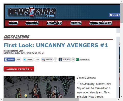 新たに始まる「アンキャニー・アベンジャーズ #1」のプレビュー画像が公開!
