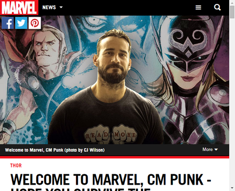 CM・パンクがマーベルコミックにやってくる!ソー・アニュアル #1のカバーも!
