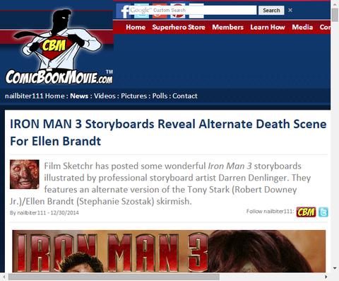 映画「アイアンマン3」のエレン・ブラントの死亡シーンのストーリーボードが公開!