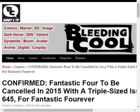 ファンタスティック・フォーは2015年に#645で3倍の大ボリューム巻をもって終了か!?
