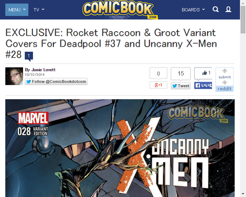 ロケット・ラクーンとグルートが登場する「デッドプール #37」と「アンキャニー・X-MEN #28」のヴァリアントカバーが公開!