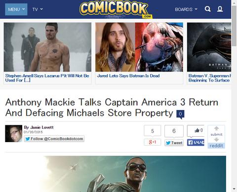 トゥナイトショーにてアンソニー・マッキーは映画「キャプテン・アメリカ:シビル・ウォー」で帰ってくることを確認!