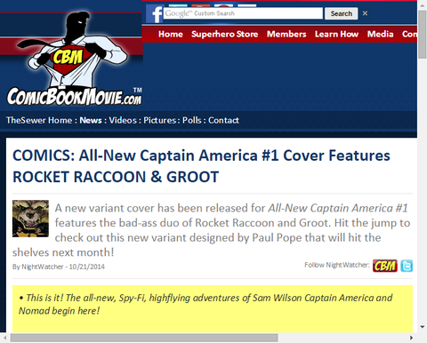 「オールニュー・キャプテン・アメリカ #1」のヴァリアントカバーにロケット&グルートが登場!