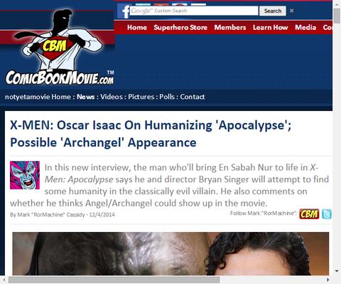 オスカー・アイザックは映画「X-MEN:アポカリプス」での『アークエンジェル』について話す!