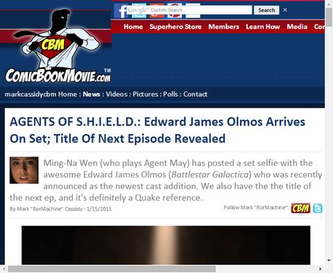 ドラマ「エージェント・オブ・シールド」の撮影にエドワード・ジェームズ・オルモスが参加!さらに次のエピソードタイトルも!