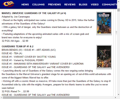アニメ版のコミック化!マーベル・ユニバース ガーディアンズ・オブ・ザ・ギャラクシー #1のプレビュー!
