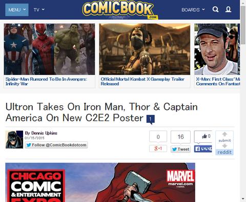 コミックの新たなビッグ3とウルトロンとの戦いを描くC2E2のポスターが公開!