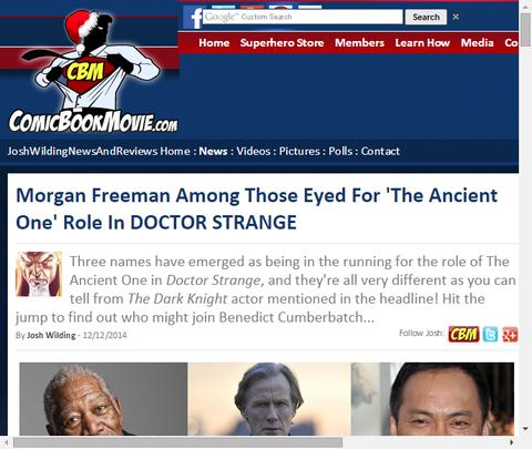映画「ドクター・ストレンジ」のエンシェント・ワンを演じる俳優に渡辺謙、モーガン・フリーマン、ビル・ナイに狙いを定めている!