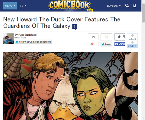 ガーディアンズ・オブ・ザ・ギャラクシーと写真を取る「ハワード・ザ・ダック #2」のカバーが公開!