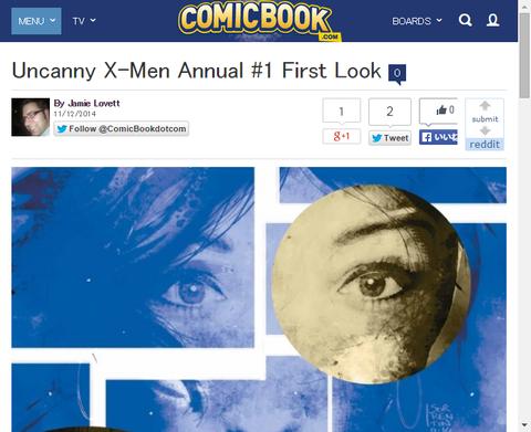 アンキャニー・X-MEN アニュアル#1のプレビュー画像が公開!