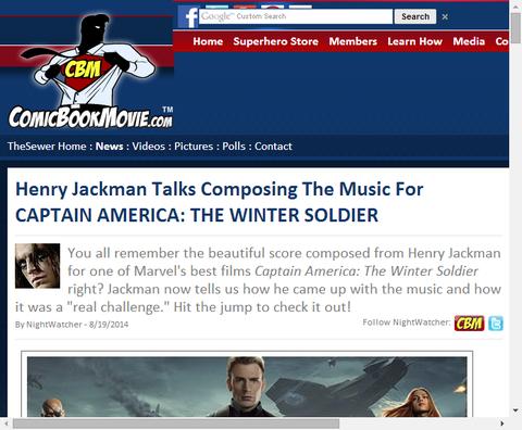映画キャプテン・アメリカ:ウィンターソルジャーで音楽を担当したヘンリー・ジャックマンのインタビュー!